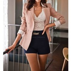 $17.66 Lapel Collar Long Sleeves Color Block Sweet Style Polyester Blazer For Women