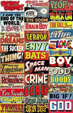 Pulp Poetry stickers by wacky stuff, via Flickr