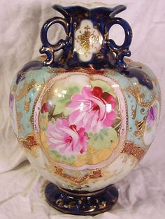 Hand Painted Footed Nippon Vase Cobalt Blue Pink Roses Gold Moriage