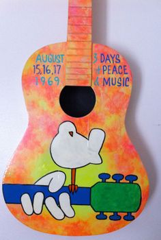 Woodstock Painted Guitar. $275.00, by BeesCuriosityShoppe on etsy