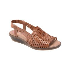 Women's Comfortiva Formosa Wedge Huarache ($70) ❤ liked on Polyvore featuring shoes, sandals, brown, casual, casual footwear, low heel wedge sandals, strappy leather sandals, brown strappy sandals, huarache sandals and brown platform sandals