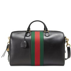Gucci Leather Duffle (10.180 RON) ❤ liked on Polyvore featuring men's fashion, men's bags, bags, men, black, suitcases & duffle bags, men's duffel bags, mens duffle bags, mens leather suitcase and mens bags