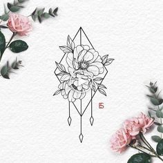 lot love a peony so Ive been designing loads more this would look cute as a thigh piece Forearm Flower Tattoo, Small Flower Tattoos, Wrist Tattoos, Cute Tattoos, Body Art Tattoos, Small Tattoos, Sleeve Tattoos, Geometric Flower Tattoos, Peony Flower Tattoos