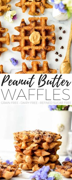 These Waffle Maker Peanut Butter Cookies are gluten-free and ready in 10 minutes! An easy dessert recipe that is healthy enough for breakfast {gluten-free peanut butter waffles}! They taste JUST like a flourless peanut butter cookie but no oven required! They're gluten-free, grain-free, dairy-free and refined sugar free! #waffles #peanutbutter #grainfree #glutenfree #dairyfree #wafflecookies #breakfast #recipe