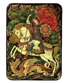 Russian miniature painting: Palekh, St. George and the Dragon, by Vera Smirnova, Tradestone Gallery