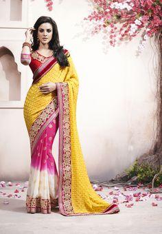 Dynamic Yellow Crepe Jacquard #Saree  #designersaree #indiansaree #craftshopsindia