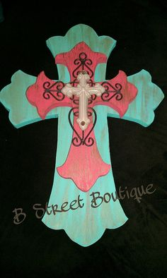 Teal, Coral, and Cream  Wooden Wall Cross