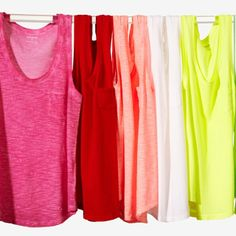 We want to live in these pocket tees. #Express #color If I could, I would live in them! I've been told I have too many of these style tanks but I think there's no such thing as too many tanks!