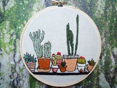 Argh, can I keep this? No, you must have it. This is a 5 inch completely hand stitched embroidery with many tiny details. I love Cacti and