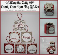 "2016   Candy Cane Lane suite. Christmas Tags in a Clear Tiny Treat Box. Merriest Wishes Clear-Mount Stamp Set	142066 , Merry Tags Framelits Dies	141835 ,   Clear Tiny Treat Boxes	141699 Price: $7.50 Fill up these clear acetate boxes with tiny treats, and add a personal touch for that special someone.   * 16 boxes * 2"" x 2"" x 2"" (5.1 x 5.1 x 5.1 cm) * Food safe * Acid free"