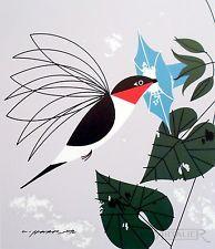 charley harper, hummingbird   charley charles harper little sipper ruby throated hummingbird coa ...