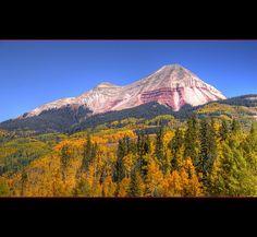 Fall colors on Engineer Mountain (12,968 feet) near Coal Bank Pass between Durango and Silverton, Colorado.