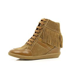 Brown contrast panel fringed wedge high tops £15.00
