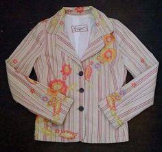 Johnny Was Blazer Jacket M Pink Yellow Striped Colorful Embroidered Flowers #JohnnyWas #Blazer