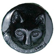 Black Glass Cat Button | eBay