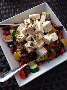 delicious greek salad - pairs deliciously with Uva Mira unwooded Chardonnay - 2013 release (Its the feta that makes the pairing such a great combination)