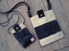 IPadmini/Tablet bag & matching mobile bag. Made of left over cow & leather.