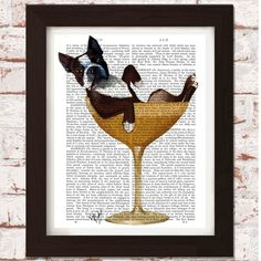 Boston Terrier Dog in Cocktail Glass - Stocking Fillers for her - Gifts for Her - Christmas Gift Guide - The Lost Lanes