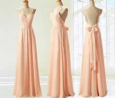Low Price Long Backless Spaghetti Strap Chiffon Bridesmaid Dresses With Bow Peach Bridesmaid Gowns