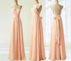Low Price Long Backless Spaghetti Strap Chiffon Bridesmaid Dresses With Bow Peach Bridesmaid Gowns bridesmaid dress, cheap bridesmaid dresses