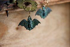 Verdigris Bat Earrings Little Green Bat Dangles Spooky Flying Bat Gothic Vampire Bat Jewelry - E278 by SilentRoses on Etsy https://www.etsy.com/listing/218640435/verdigris-bat-earrings-little-green-bat