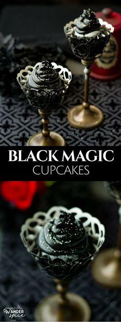Halloween | Cupcakes | Recipes | Black Cupcakes | Magical Halloween Cupcakes