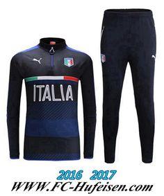 Billige Neue Fussball Trainingsanzug Herren Kits Italien Schwarz 2016 2017 Thailand
