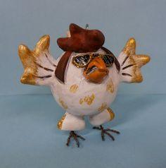 Elvis Chicken Rooster by darbella in Polymer by darbelladesigns, SOLD