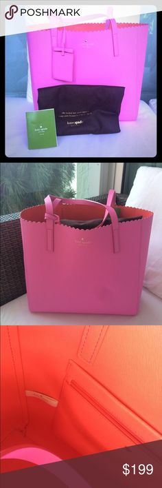 "♥️Kate Spade Large Tote NWT Authentic & gorgeous Large Tote. Pink leather, coral red interior. ""Hallie"". Very spacious and chic. New with tag attached! Dust bag and care card included :). ❌No trades❌ kate spade Bags Totes"