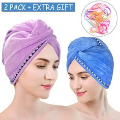 Microfiber Hair Turban Wrap 2 Pack,Quick Dry Hair Towel Wrap Turban, Super Absorbent Quick Dry Hair Towel (Purple Blue) *** See this great product. (This is an affiliate link) Bamboo Hair Products, Hair Towel Wrap, Head Turban, Wet Hair, Hair Type, Hair Band, Your Hair, Quick Dry, Purple