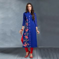 Buy Blue Georgette Floral Embroidered Kurti for womens online India, Best Prices, Reviews - Peachmode