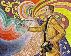 "Paul Signac, ""Portrait of Félix Fénéon,"" 1890 (in front of an enamel of a rhythmic background of measures and angles, shades and colors). Oil on canvas."