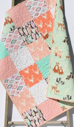 Rustic Baby Quilt Girl Crib Bedding Deer Blanket Gold Shimmer Coral Pink Gray Mint Nursery Woodland Hello Bear Feathers Arrows Aztec Tribal by SunnysideDesigns2