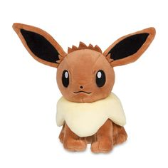 Official Pokémon Eevee Poké Plush. Eevee has a mega-fluffy tail and pink pads sewn on the paws. Stands 6 inches high and over 6 inches long.