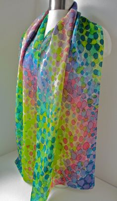 Silk scarf hand painted  Abstract Polka Dot Spring Colors