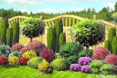 Projekt ogrodu:rabata pod płotem - Wiosna