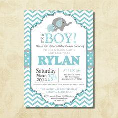 Blue elephant baby shower invitations boy, elephant and chevron invitations, baby boy shower invitations, blue gray, printable, digital file $16.18
