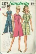 An original ca. 1967 Simplicity pattern 7377.  The pantdress has front zipper closing, slightly lowered round neckline and optional self fabric tie belt. View 1 and 2 have short set in sleeves. Ankle length View 1 is collarless. Regular length View 2 and 3 have collars. View 3 is sleeveless.