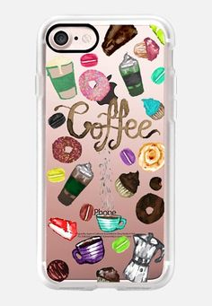 Casetify iPhone 7 Classic Grip Case - Watercolor Coffee Donuts Desserts Macroons Foodie Pattern by BlackStrawberry #Casetify