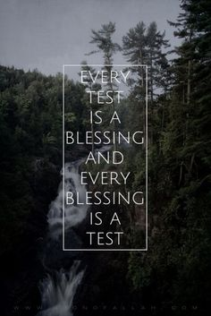 Every test is a blessing and every blessing is a test. -...