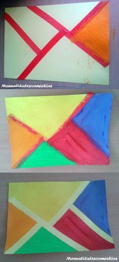 Pintura de formas geométricas. Cinta aislante, pinturas de dedos y creatividad infantil #kidscraft