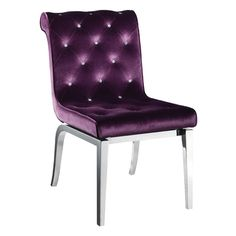 A gorgeous Purple velvet upholstered dining chair, with jewelled buttons and a stunning chrome frame. This contemporary velvet chair would look perfect as a dining set or in your bedroom. Purple Dining Chairs, Dining Room Chairs, Dining Furniture, Dinner Chairs, Dining Decor, Dining Rooms, Furniture Ideas, Tufted Chair, Upholstered Dining Chairs