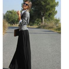 Black maxi skirt with grey cardi