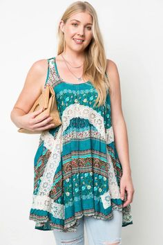 Sleeveless Printed Tunic with Lace Details