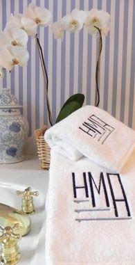 wonderful blue stripe and monogrammed towels