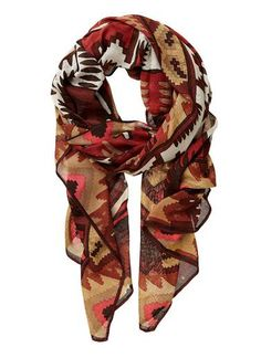 Wonder what this scarf would like open. Such a great print and the colors!