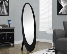 Black Contemporary Oval Cheval Mirror