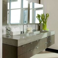 Floating Modern Bathroom Vanity With Poured Concrete Countertop And Integrated Trough Sink And Double Wide Mirrors , The Modern Bathroom Van...