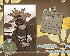 Calendar Sept: I am making calendars for each of my kids this year with favorite photos of each of them... This is for Kacee's calendar (Sept)   credits: Gratitude, Misty Cato and Alma Townsend, SBE Calendar Template, Misty Cato, SBE calendar chipboard, Misty Cato, SBB font is Kim Geswein