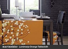 How fabulous is this tablecloth?!!  Crate:Marimekko Lumimarja Orange Tablecloth